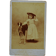 "Antiaue Cabinet Photograph ~ Adorable Girl And Her Greyhound Dog Named ""Dash"""