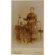 Antique CDV Photograph ~ Girl And Her Pug Dog