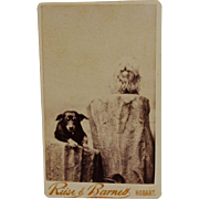 Antique CDV Photograph ~ Adorable Pair Of Dogs