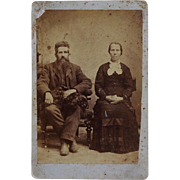 Antique Cabinet Photograph ~ Couple With Their Dog