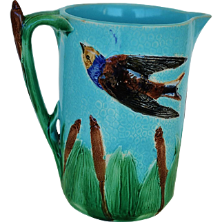 C1870 Victorian Bird And Cattail Pitcher By Joseph Holdcroft