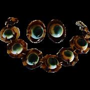 Victorian Operculum Shell Bracelet & Earrings