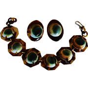 Victorian Operculum Shell Bracelet & Earrings