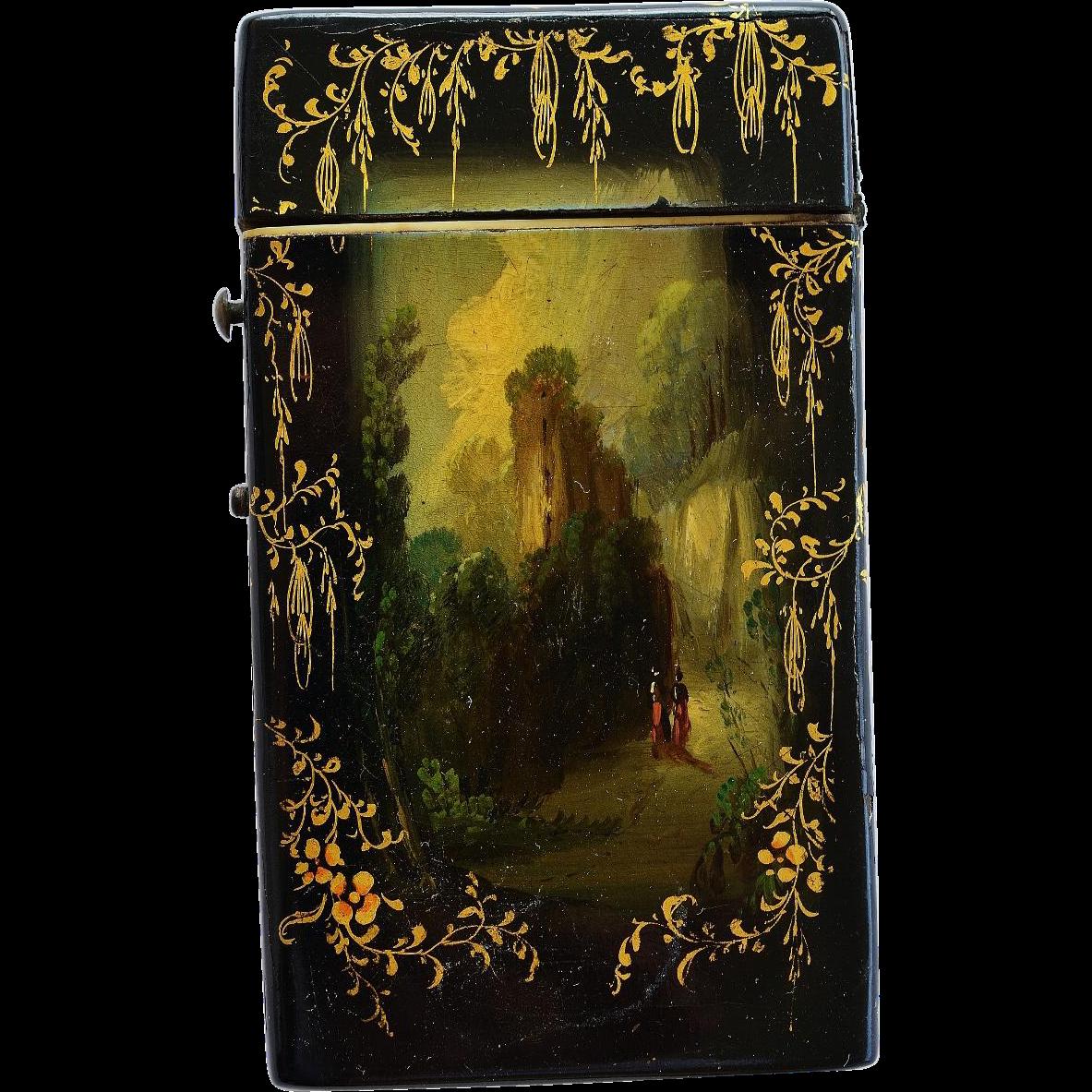 antique papier mache card case from antiquepooch on ruby lane. Black Bedroom Furniture Sets. Home Design Ideas