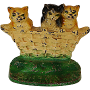 C1932 Rare Cast Iron Cat Doorstop ~ Three Little Kittens - Red Tag Sale Item