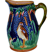 Large Majolica Water Pitcher C1880 ~ Heron In The Bullrush