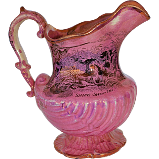 A 19th Century Pink Lustre Hunting Jug ~ Coursing Greyhounds & Snipe Shooting