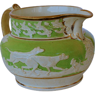 Pearlware Staffordshire Pitcher With Hunting Dogs C1850