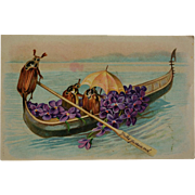 Antique French Postcards ~ Insects Boating With Violets