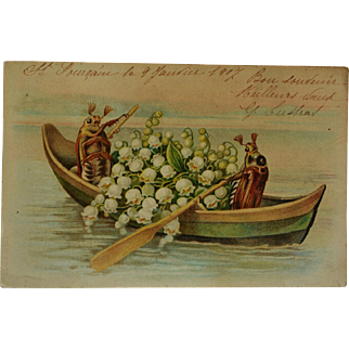 Antique French Postcard ~ Insects Boating With Lily Of The Valley Flowers