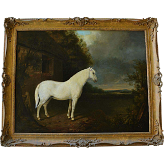 Antique Oil Painting ~ Beautiful Horse In Landscape C1808
