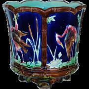 Victorian Majolica Cobalt Jardinière With Herons C1880