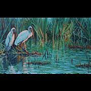 Large Oil Painting ~ Immature Wood Storks