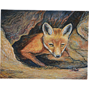 Young Fox With Stag Beetle Oil Painting