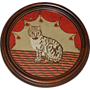 Victorian Woolwork Needlework Cat