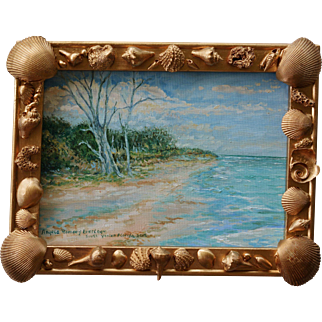 Small Oil Painting With Seashell Frame ~ South Venice Beach Florida