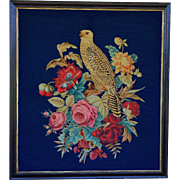 Huge Victorian Needlework Silk & Wool ~  Falcon With Flowers