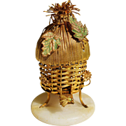 Antique French Palais Royal Scent Caddy ~ Ormolu Thatch Hut With Bee And Flowers