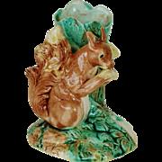 Charming Victorian Majolica Squirrel Vase