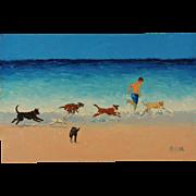Jan Matson Oil Painting ~ Dogs On The Beach