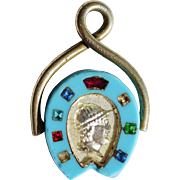 Victorian Horse Fob ~Turquoise Glass Horseshoe With Jockey Intaglio