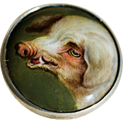 Antique Painted Miniature Enamel Portrait ~ Adorable Pig