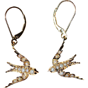 Victorian Gold And Seed Pearl Swallow Earrings
