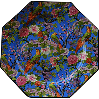 C1920 Crown Ducal Blue Chintz Exotic Bird Luncheon Plate #2