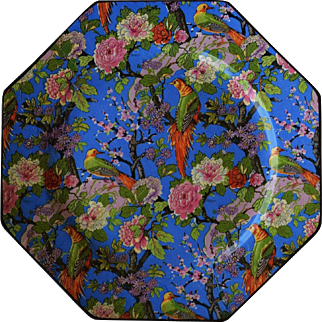 C1920 Crown Ducal Blue Chintz Exotic Bird Luncheon Plate #3