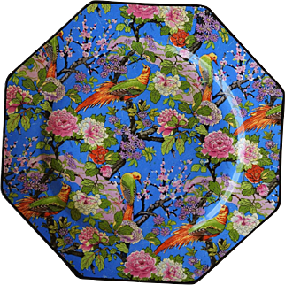 C1920 Crown Ducal Blue Chintz Exotic Bird Luncheon Plate #4