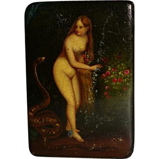 Victorian 19C Papier Mache Snuff Box ~ Eve With Snake
