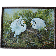 Large Oil Painting ~ Courting Great Egrets