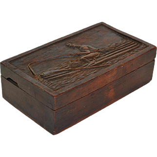 Antique Carved Walnut Box ~ Fishing Scene