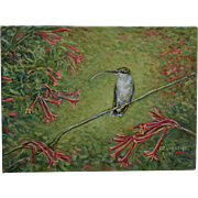Hummingbird In Honeysuckle Oil Painting