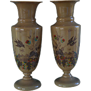 Antique French Opaline Glass Vases ~ Hand Painted Birds And Flowers