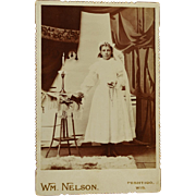 Antique Cabinet Photograph ~ Sweet Girl's First Communion