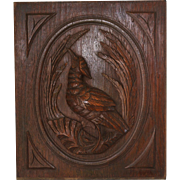 19C Carved Oak Wood Panel ~ Bird Among The Rushes