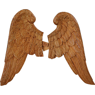Rare Antique French Carved Wood Angel Wings