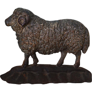 Antique Cast Iron Ram Sheep Doorstop