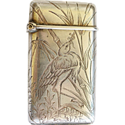 Antique Aesthetic Period French Silver Vesta Match Safe ~ Heron With Snake In Reeds