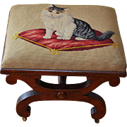 Victorian 19C Needlework Footstool ~ Cat On Pillow