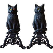 Cast Iron Cat Fireplace Andirons
