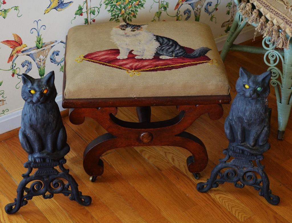 cast iron cat fireplace andirons from antiquepooch on ruby lane
