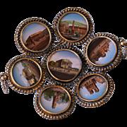 C1880 Antique French Paris Grand Tour Souvenir Tray ~ 7 Eglomise Views of Monuments