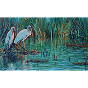 Large Framed Oil Painting ~ Immature Wood Storks