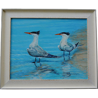Crested Terns On Manasota Beach Oil Painting