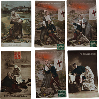 Set Of 6 French WW1 Red Cross Postcards