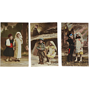 Set Of 3 French WW1 Red Cross Children Postcards