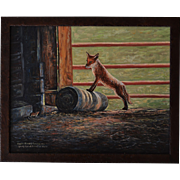 Young Fox With Mouse Companion Oil Painting