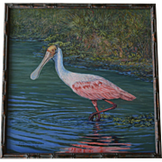 Oil Painting Roseate Spoonbill At Celery Fields Florida